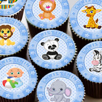 CHRISTENING BLUE MIXED CUTE BABY ANIMALS EDIBLE CUPCAKE TOPPER DECORATIONS