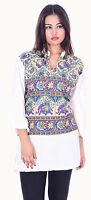 Indian Kurta Designer Women Ethnic Top Tunic Elephant Purple print Casual Top