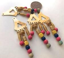 Vintage 19 x 60mm Gold Tone Metal & Wood Beads Dangling Charms Findings 4