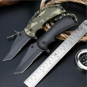 Tanto Knife Serrated Folding Pocket Flipper Hunting Survival Tactical Military S