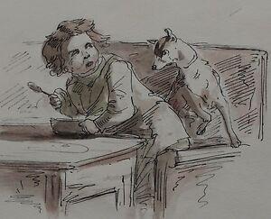 JOHN JOSEPH BARKER 1824-1904 Boy & Dog ORIGINAL PEN WATERCOLOUR UK listed artist