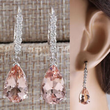 14k White Gold Leverback One Stone Dangle Earrings Natural Pink Sapphire Jewelry