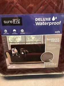 sure fit deluxe waterproof sofa cover wine