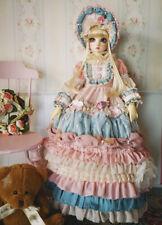 "1/3 BJD SD Palace Ruffle Dress & Hat Set (Pink) - 22"" BJD Doll Clothes Outfit"