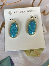 Kendra Scott Gold Dani Ocean Blue Kyocera Opal Earrings NWT