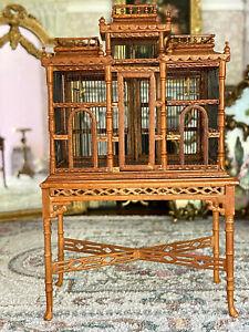 Vintage Artisan Miniature Dollhouse Bespaq Wood Victorian Aviary Cage & Birds