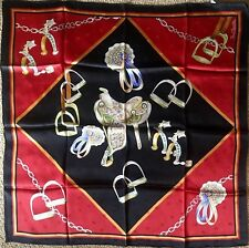 RENATO BALESTRA Black & Red w/Gold Trim Equestrian Themed Large Square Scarf