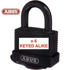 6 x Keyed Alike Abus Outdoor Waterproof Padlocks With 12 Keys -Free Post