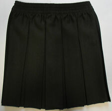 Girls School Uniform Full Pleated Skirt Black Grey Navy Elasticated Knee Length
