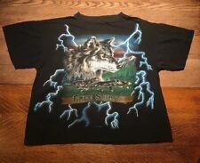 Vtg 90's Wolf T Shirt Single Stitch Thunder Sz Xl Free Spirit Black Usa