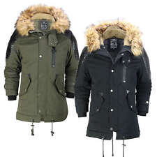 Mens Winter Jacket Warm Padded Faux Leather Retro Biker Style Fur Hood Parka