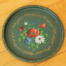 """Toleware Tray Mid Century Hand Tole Painted Red Poppy Daisy Nashco NY 11"""" Round"""