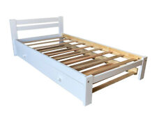 Amazonas White Twin Size Bed With Trundle Solid Pine Wood