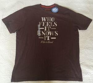 "Life Is Good Men's Oak Brown ""Who Feels It Knows It"" Tee Size XL"