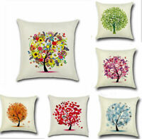 Flowers Tree Cotton Linen Pillow Case Sofa Throw Cushion Cover Home Decor