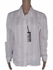 made in italy donna vintage camicia blusa bianco cotone taglia xl extra large