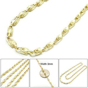 """Mens Womens 10K Yellow Gold Turkish Chain Necklace 3MM 18""""- 24"""""""