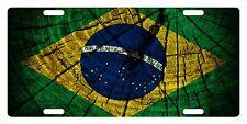BRAZIL Flag Custom License Plate Brazilian Emblem Tree Version