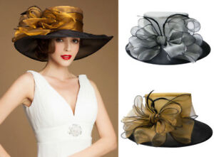 Womens Occasional Dress Wedding Church Wide Brim Hats Kentucky Derby A045