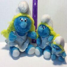 "(3) 1981 Smurfette Plush Dolls, 10"", 8"" & 5.5"""