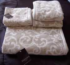 LUXURY TAHARI HOME FLEUR DE LIS SCROLL BEIGE WHITE 100% COTTON BATH TOWEL 3PCs