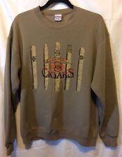 Embroidered Graphic Vintage Tan Sweatshirt Adult Medium 'Premium Cigars'