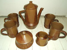 VINT BROWN POTTERY SET- COFFEE POT WITH 4 MUGS/SUGAR/CREAMER-WONDERFUL CONDITION