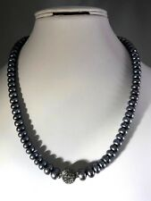 HONORA CULTURED PEARL GRADUATED RONDEL AND CRYSTAL BEAD NECKLACE (M874-18)
