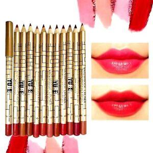 New 12 Colours Set True Makeup Lip Liner Pencil Cosmetic Lip Pen Lipliners - YB