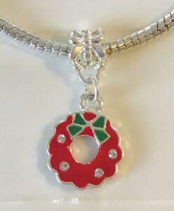 Christmas WREATH Dangle European Enamel Bead Large Charm Silver Bracelet FESTIVE