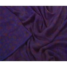Sanskriti Vintage Blue Saree 100% Pure Silk Printed 5 Yard Sari Craft Fabric
