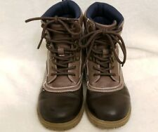 Boys Boots Youth Size 1 Brown Alemeda Ankle Casual Nautica Excellent Condition
