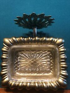 Brass Medallion SOAP DISH with GLASS LINER Wall Mount New