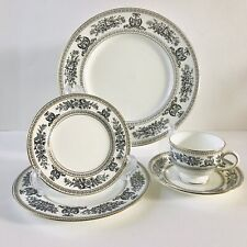 5 Pc Wedgwood Bone China Columbia Black Dragon Dinner Bread Dessert Cup Saucer