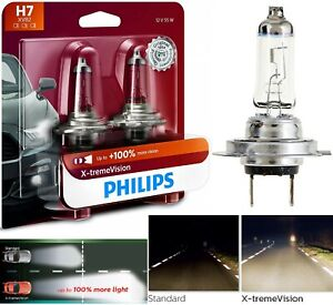 Philips X-Treme Vision H7 55W Two Bulbs Head Light Low Beam Upgrade Replace Lamp