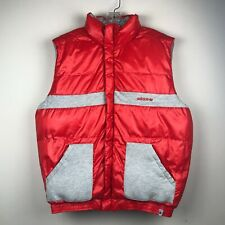 adidas Mens Red Gray Puffer Vest Gilet Jacket Insulated Reversible Quilted Sz L