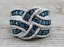 Gorgeous Women Silver Plated Blue Sapphire Ring Engagement Bridal Gifts Jewelry