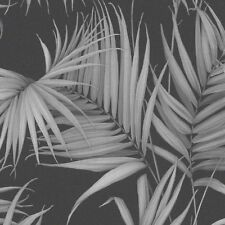 Black and Grey Stunning Tropical Palm Leaves Wallpaper - 10m Roll