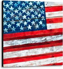 American Flag Old Glory Rustic Patriotic Stretched Fine Art Canvas Print 36x36