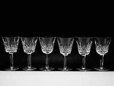 "6 BRILLIANT WATERFORD CRYSTAL ""LISMORE"" CLARET WINE GLASSES MADE IN IRELAND"