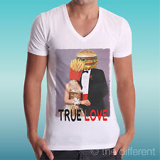 """T-Shirt Cou V Jersey """" Sandwich """" Frites Couple True Love Funny Road à Happiness"""
