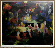 Macke Landscape with Cows and Camal Vintage Lithograph