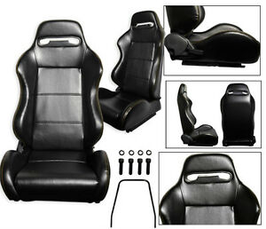 NEW 1 PAIR BLACK LEATHER + YELLOW STITCH RACING SEATS ALL FORD **