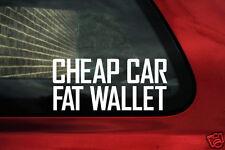 """2x drôle, """"bon marché voiture, fat portefeuille"""" budget projet stickers voiture"""