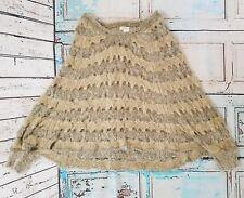Arden B Poncho Sweater Women's Sz XS / S Long Sleeve Tan Knit Acrylic Nylon