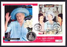 2002 REGINA MADRE COVER Antigua & Barbuda Mini Foglio & ISOLE VERGINI DELLE ISOLE VERGINI BRITANNICHE MONETA