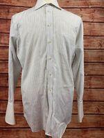 Paul Fredrick Striped Button Down Dress Shirt 2 Ply Cotton Mens Sz 15 1/2-33