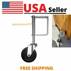 (5-Inch) Spring Loaded Gate Caster Rubber Wheel 220LB Wood or Chain Link Fences