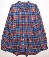 Polo Ralph Lauren Big Tall Mens 2XB Blue Plaid Performance Flannel Shirt NWT 2XB