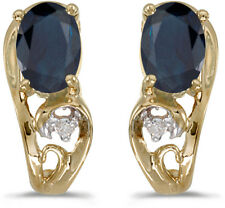 14k Yellow Gold Oval Sapphire And Diamond Earrings (CM-E2590X-09)